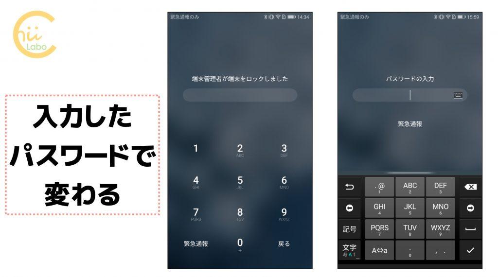 スマートフォンにセットされたパスワード画面