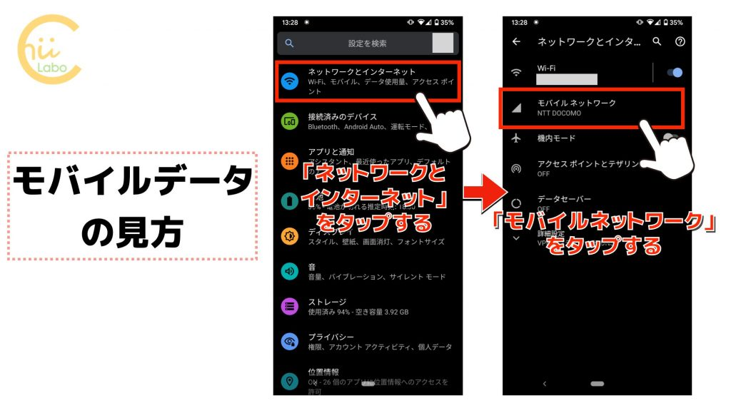 設定アプリのモバイルデータの見方
