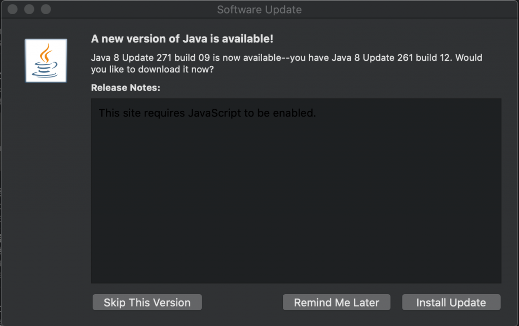 A new version of Java is available!