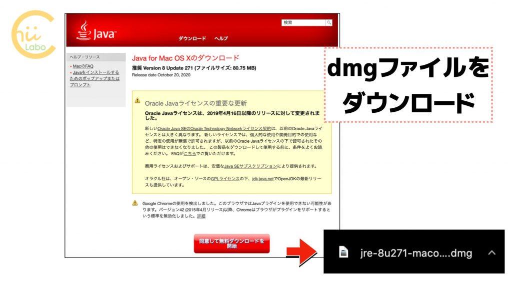 dmgファイルをダウンロードする