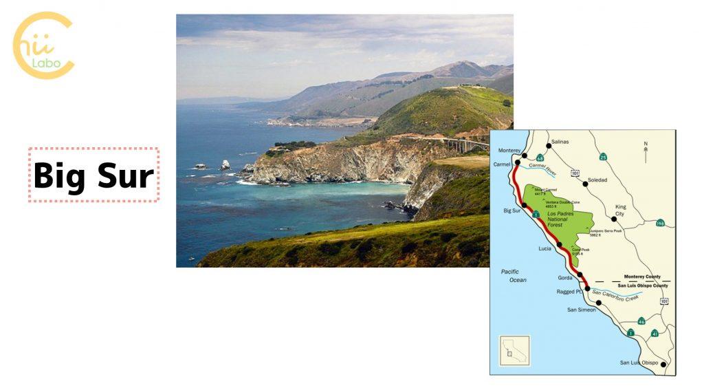 カリフォルニアのBig Surの風景と地図