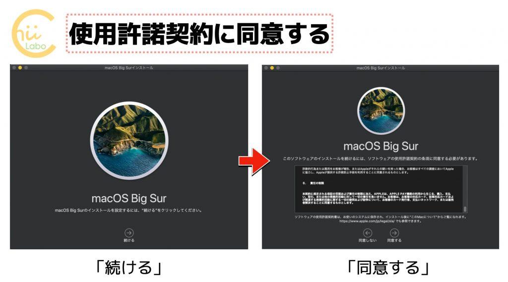 macOS Big Surの使用許諾契約の同意画面