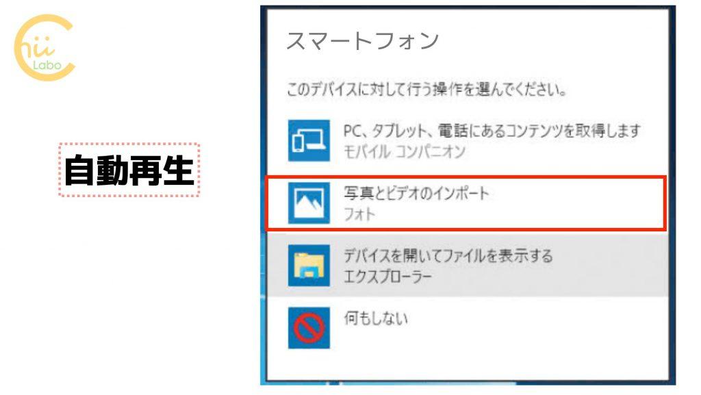 Windows10の自動再生のメッセージ