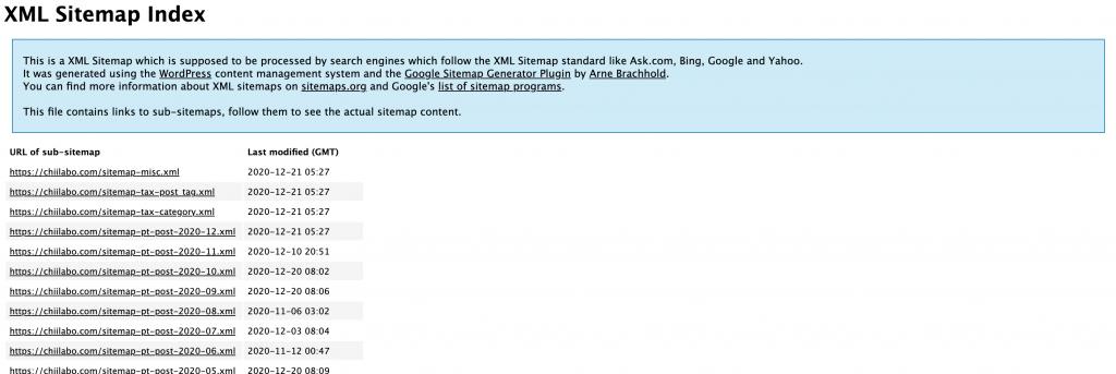 Google XML Sitemapsのサイトマップ