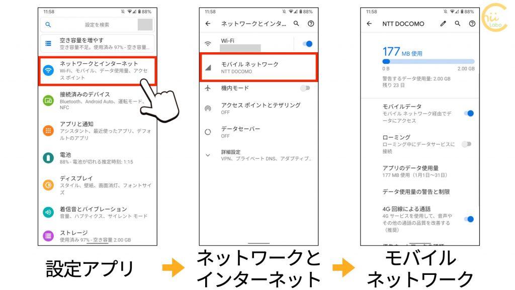 モバイルネットワークの設定の表示の仕方