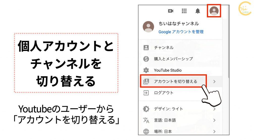 Youtubeでアカウントを切り替える