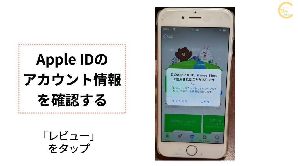 「レビュー」から Apple ID のアカウント情報を登録する