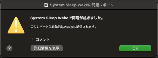 System Sleep Wakeの問題レポート