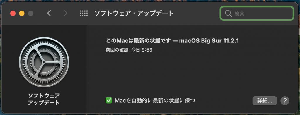 macOS Big Sur 11.2.1 の状態