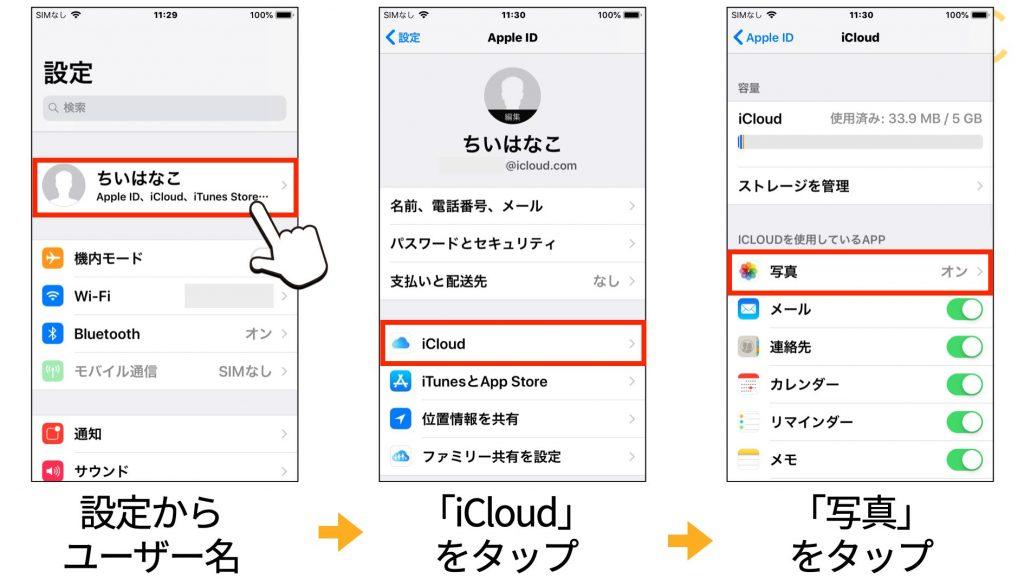 iCloud写真を表示する