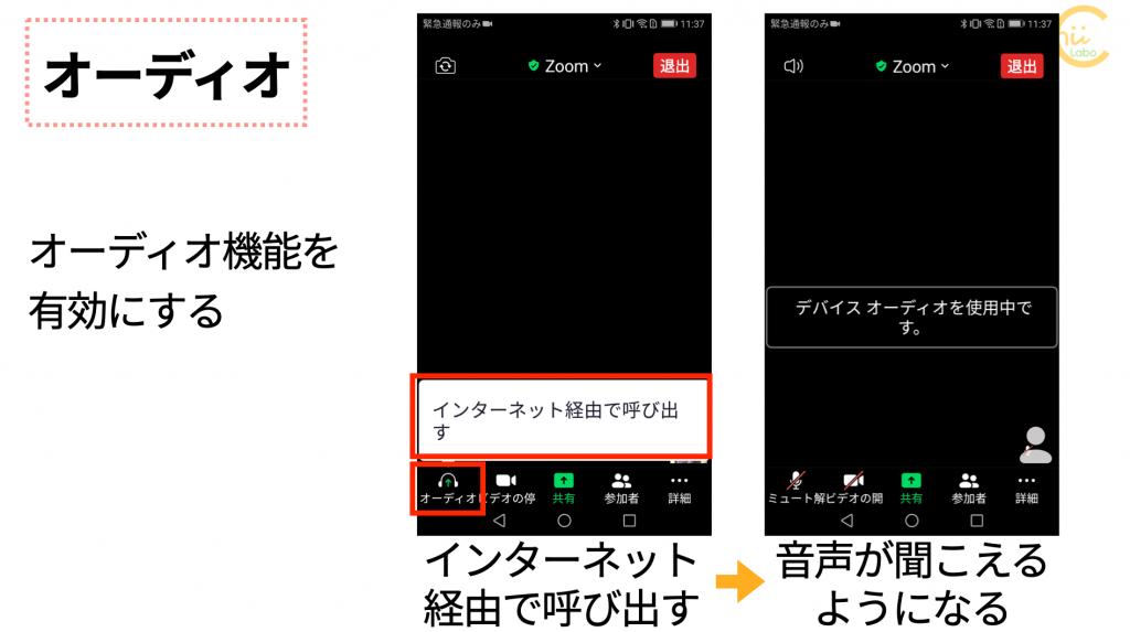 Zoomでは入室したらオーディオ機能を有効にする