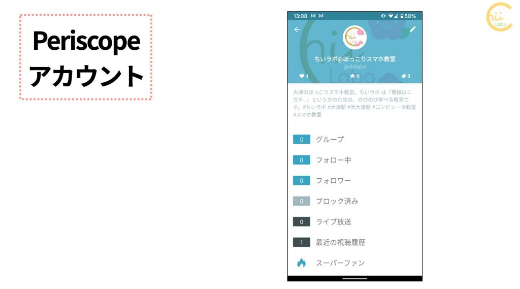 Periscopeのアカウント管理画面
