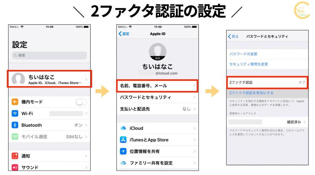 iPhoneで2ファクタ認証を設定する