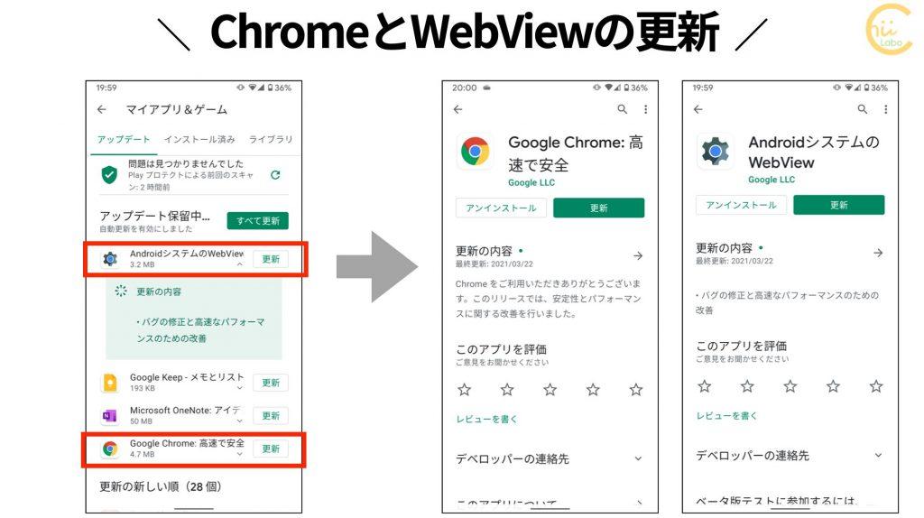 ChromeとWebViewを更新する