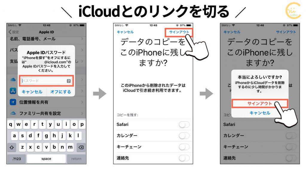 iCloudとのリンクを切る