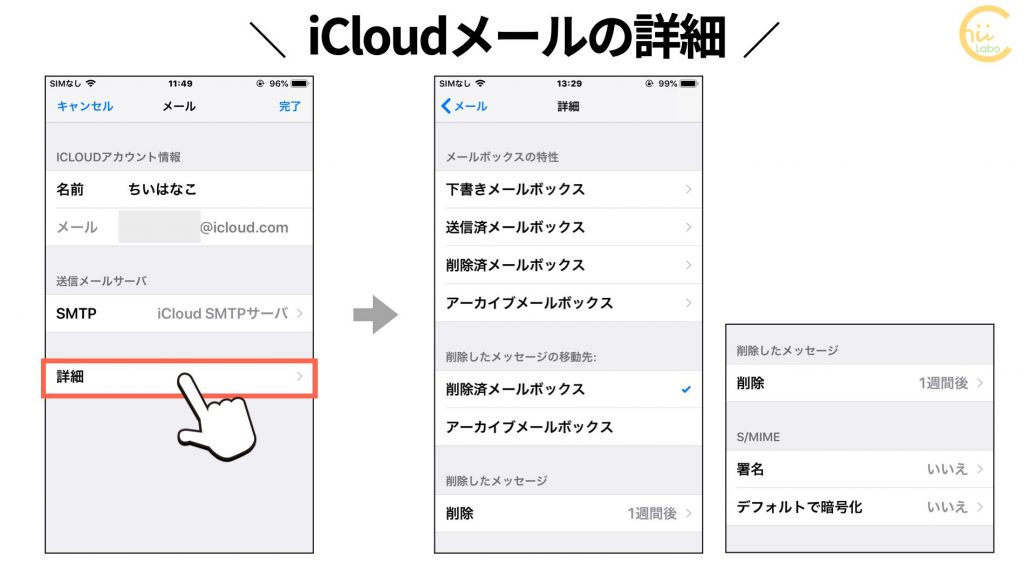 iCloudメールの詳細