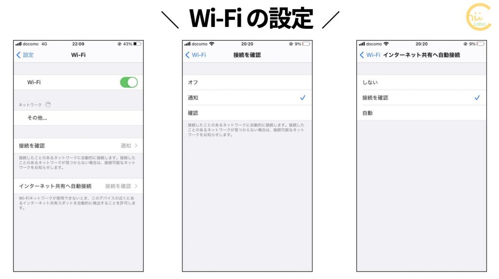 iPhoneのWi-Fi設定
