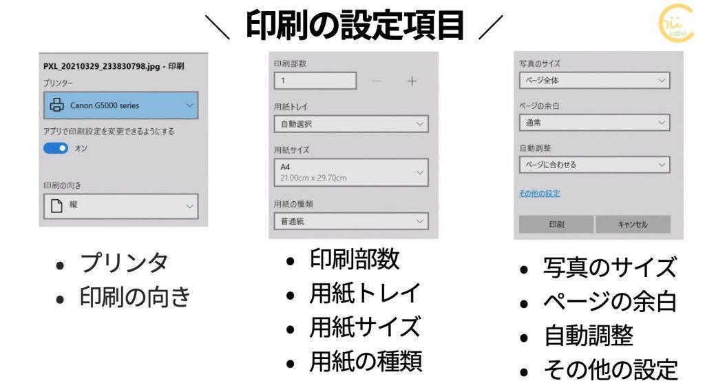 アプリの印刷設定