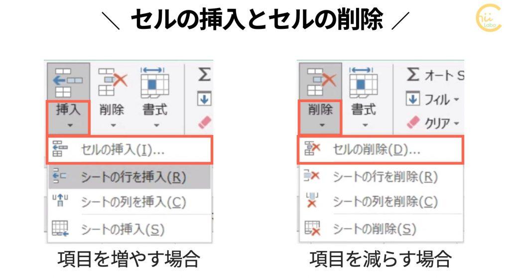 Excelのセルの挿入と削除