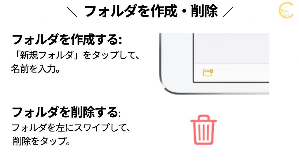 メモアプリでフォルダを作成・削除する