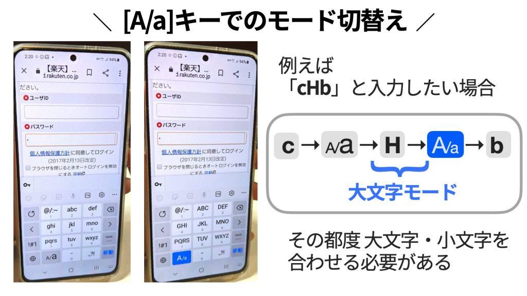 Galaxyキーボードでは[A/a]キーで大文字・小文字の入力モードを切り替える