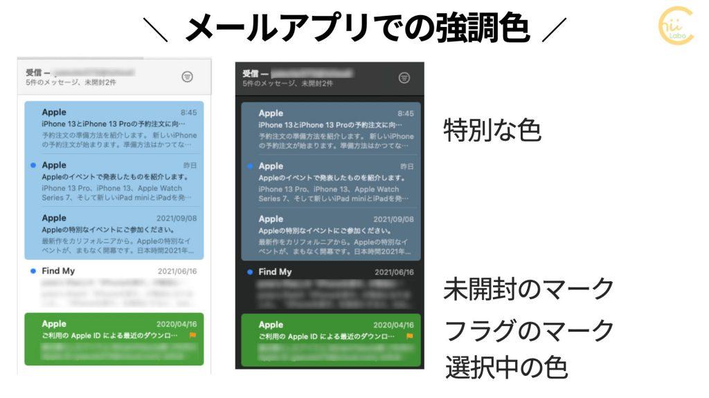 Macのメールアプリでの強調色