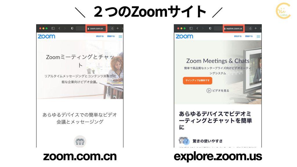2つのZoomサイト