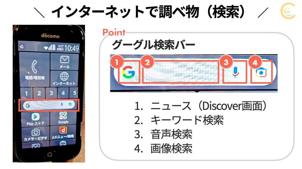 らくらくスマートフォンのGoogle検索バー