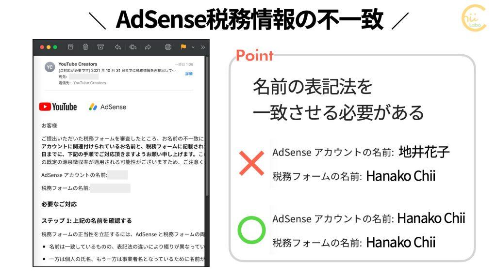 AdSense税務情報の不一致