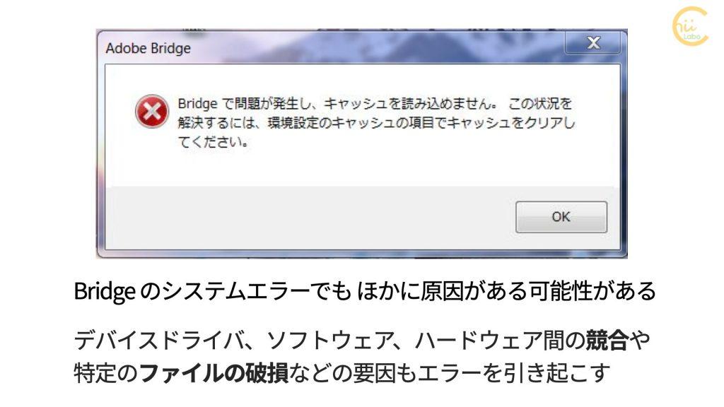 Adobe Bridgeでキャッシュが読み込めないエラーメッセージ